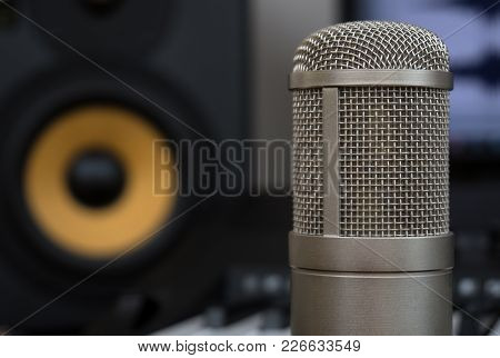 Professional Studio Monitor And Condenser Microphone. Concept Of Home Music Studio.