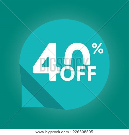 40% off. Sale and discount tag with 40 percent price off icon. Vector illustration. stock photo