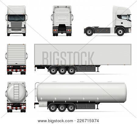 Truck vector mock-up. Isolated template of lorry on white background. Realistic vehicle branding mockup. Side, front, back view. All elements in the groups on separate layers. Easy to edit and recolor. stock photo