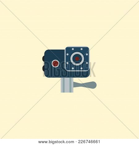 Action cam icon flat element.  illustration of action cam icon flat isolated on clean background for your web mobile app logo design. stock photo