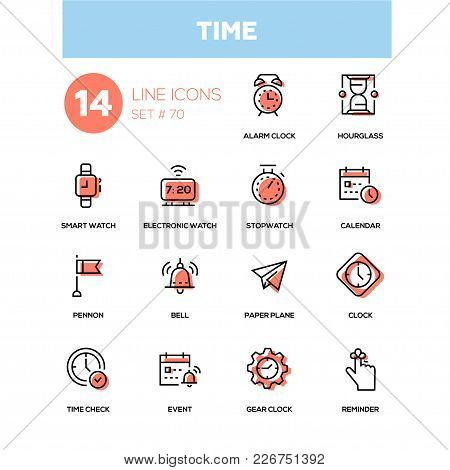 Time concept - line design icons set. High quality black pictogram. Alarm clock, hourglass, smart, electronic watch, stopwatch, calendar, pennon, bell, paper plane, check, event, gear, reminder stock photo