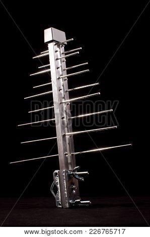 Isolated log periodic antenna for UHF tv stock photo