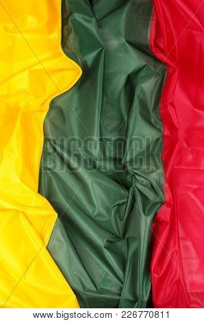 The flag of Lithuania: green, yellow, red stock photo