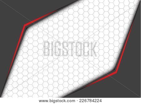 Abstract red line metallic gray arrow with hexagon mesh on white blank space design modern futuristic background vector illustration. stock photo