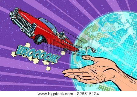 Humanity launches into space car. Pop art retro comic book vector cartoon hand drawn illustration stock photo