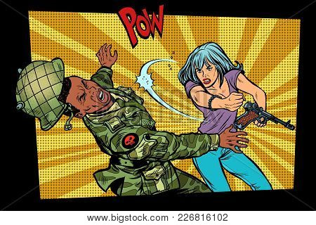 woman vs man. Civil beats invader military soldier. Struggle for peace. Protest against the occupiers. Pop art retro vector illustration comic cartoon vector vintage kitsch drawing stock photo