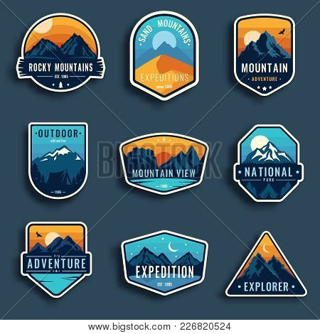 Set Of Nine Mountain Travel Emblems. Camping Outdoor Adventure Emblems, Badges And Logo Patches. Mou