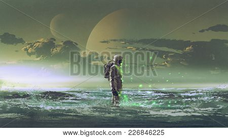 the astronaut standing by the sea against background of the planet, digital art style, illustration painting stock photo