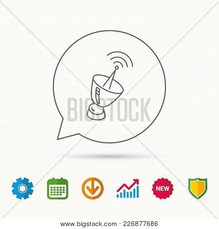 Antenna icon. Sputnik satellite sign. Radio signal symbol. Calendar, Graph chart and Cogwheel signs. Download and Shield web icons. Vector stock photo
