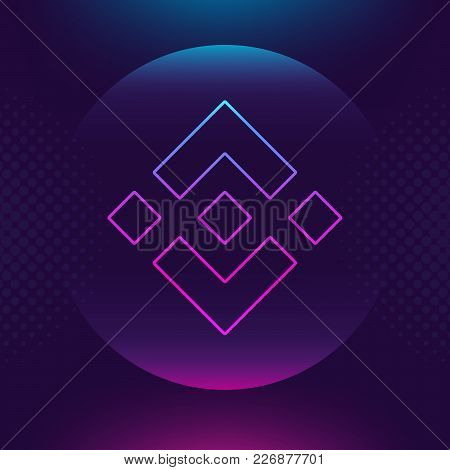 Binance coin BNB vector outline icon. Cryptocurrency, e-currency, payment crypto currency, blockchain button. Trendy Bright lighting logo adaptation design web site mobile app EPS. Ultra violet color stock photo
