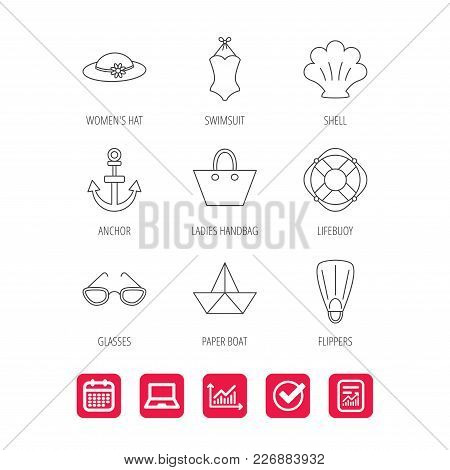 Paper boat, shell and swimsuit icons. Lifebuoy, glases and women hat linear signs. Anchor, ladies handbag icons. Report document, Graph chart and Calendar signs. Laptop and Check web icons. Vector stock photo