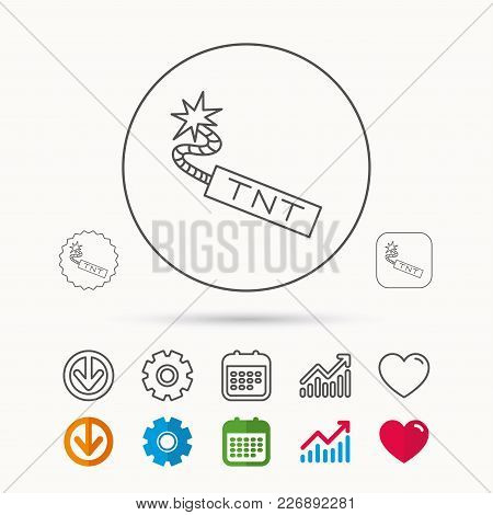 TNT dynamite icon. Bomb explosion sign. Calendar, Graph chart and Cogwheel signs. Download and Heart love linear web icons. Vector stock photo