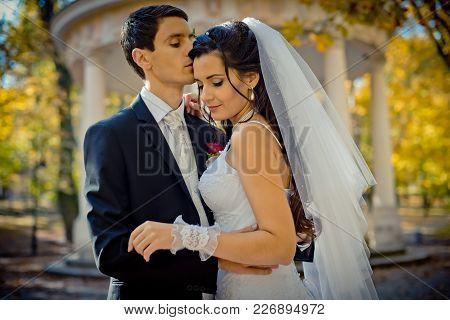 Sensual wedding outdoor portrait. The stylish groom is tenderly hugging and kissing his gorgeous lover in the forehead in the autunm forest stock photo