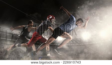 Irresistible In Attack. Multi Sports Collage With Running, Basketball, American Football Players. Co