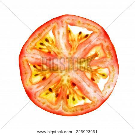 Isolate tomato thin cross section, isolate tomato thin cross slice, a closeup photo image of tomato thin cross section isolate on bright white light background stock photo