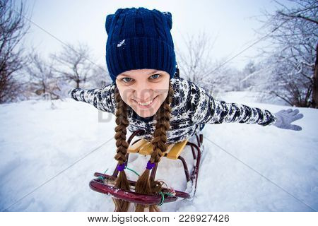 Crazy Woman Enjoy A Sleigh Ride Woman Sledding Funny Oman Play