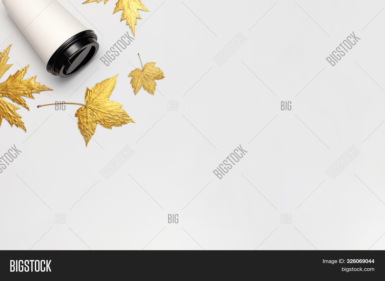 Coffee Or Tea Paper Cup, Golden Autumn Leaves On Light Gray Background Top View Flat Lay. Take Away