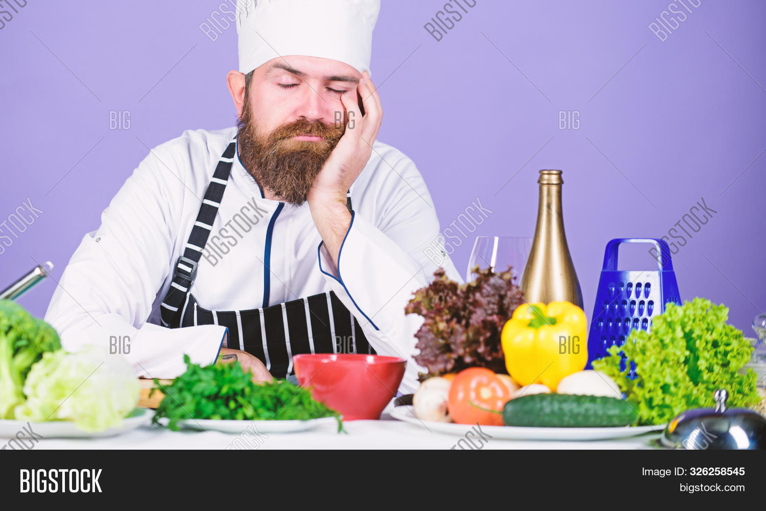 apron,background,bearded,bored,boring,bowl,caucasian,chef,concept,cook,cooking,cuisine,culinary,day,diet,exhausted,face,fed,food,fresh,hard,hat,healthy,ingredient,inspiration,kitchen,lean,looking,man,meal,nutrition,preparation,prepare,restaurant,salad,seep,serve,spoiled,table,tired,tool,uniform,up,vegetables,vegetarian,vitamin,work