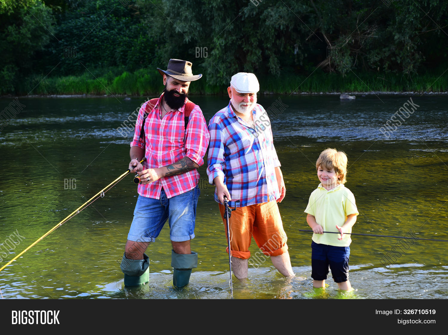 Man In Different Ages. Father And Son Fishing. Happy Fisherman With Fishing Rod. Hobby And Sport Act
