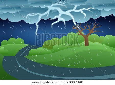Thunderstorm storm concept banner. Cartoon illustration of thunderstorm storm vector concept banner for web design stock photo