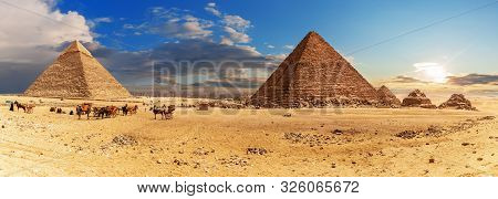 The Pyramid of Khafre and the Pyramid of Menkaure with small Pyramids, Giza complex panorama, Egypt stock photo