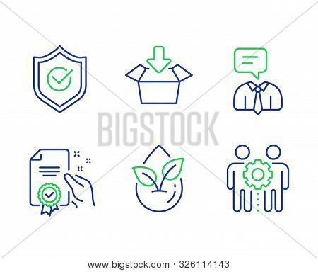 Support service, Get box and Certificate line icons set. Organic product, Approved shield and Employees teamwork signs. Human talking, Send package, Certified guarantee. Leaf. Technology set. Vector stock photo