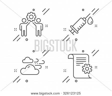 Employees teamwork, Medical syringe and Windy weather line icons set. Technical documentation sign. Collaboration, Vaccination, Cloud wind. Manual. Business set. Vector stock photo