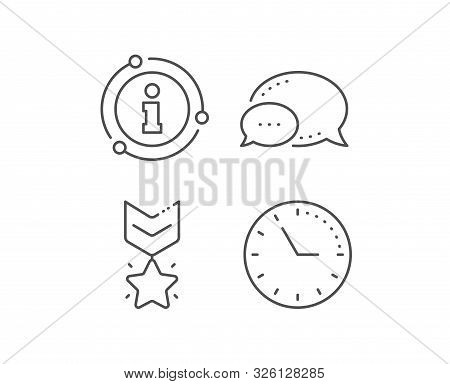 Winner medal line icon. Chat bubble, info sign elements. Ranking star sign. Best rank symbol. Linear winner medal outline icon. Information bubble. Vector stock photo