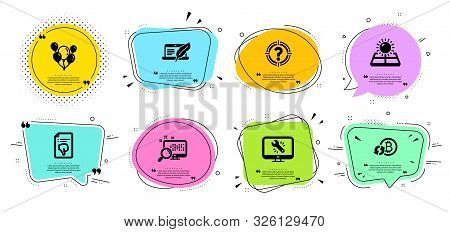 Monitor repair, Headhunter and Copyright laptop line icons set. Chat bubbles with quotes. Sun energy, Refresh bitcoin and Thumb down signs. Search, Balloons symbols. Vector stock photo