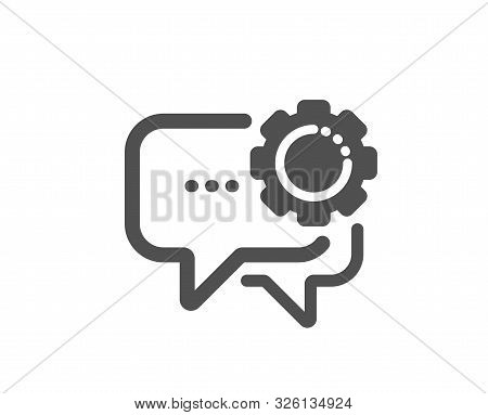 Speech bubble sign. Employees messenger icon. Chat message symbol. Classic flat style. Simple employees messenger icon. Vector stock photo