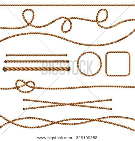 Fiber ropes. Straight brown realistic threads ropes crossing marine knots vector pictures. Illustration brown cord and knot, rope fiber isolated stock photo
