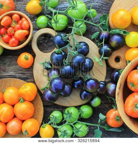 Freshly picked heirloom tomato harvest: pear shaped, beef heart, tigerella, brandywine, cherry, black, indigo rose, green. Organic produce at a Farmers market stock photo