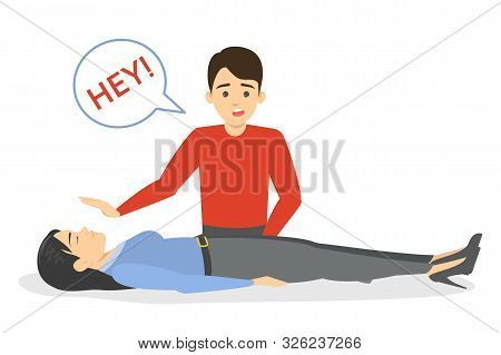 Fainting first aid. Emergency situation, unconscious person stock photo