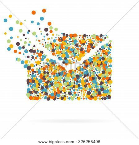 Abstract Creative concept icon of envelope for Web and Mobile Applications isolated on white background. Art illustration template design, Business software and social media infographic stock photo
