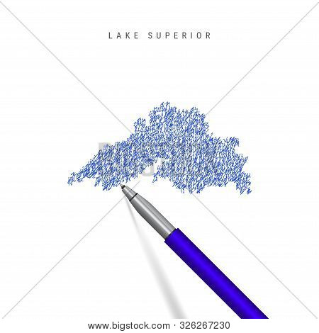 Lake Superior, one of the Great Lakes sketch scribble map isolated on white background. Hand drawn vector map of Lake Superior. Realistic 3D ballpoint pen or roller pen illustration. stock photo
