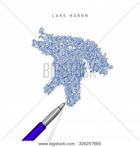 Lake Huron, one of the Great Lakes sketch scribble map isolated on white background. Hand drawn vector map of Lake Huron. Realistic 3D ballpoint pen or roller pen illustration. stock photo