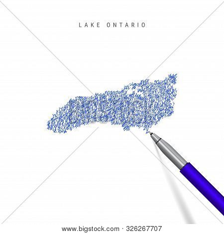 Lake Ontario, one of the Great Lakes sketch scribble map isolated on white. Hand drawn vector map of Lake Ontario. Realistic 3D ballpoint pen or roller pen illustration. stock photo
