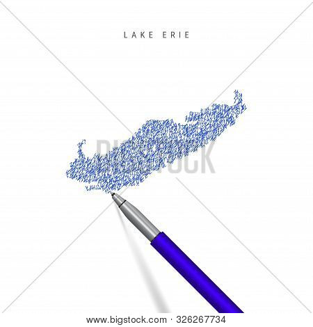 Lake Erie, one of the Great Lakes sketch scribble map isolated on white. Hand drawn vector map of Lake Erie. Realistic 3D ballpoint pen or roller pen illustration. stock photo