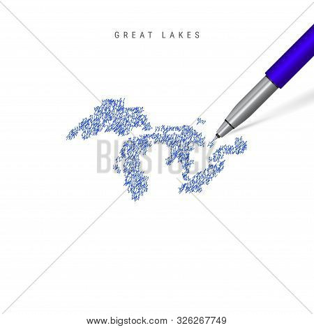 All the Great Lakes sketch scribble map isolated on white background. Hand drawn vector map of the Great Lakes. Realistic 3D ballpoint pen or roller pen illustration. stock photo