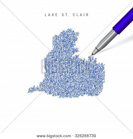 Lake St. Clair sketch scribble map isolated on white background. Hand drawn vector map of Lake St. Clair. Realistic 3D ballpoint pen or roller pen illustration. stock photo