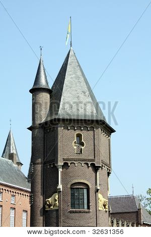The tower of the Catle Heeswijk from 12th century in Heeswijk-Dinther (Netherlands) stock photo