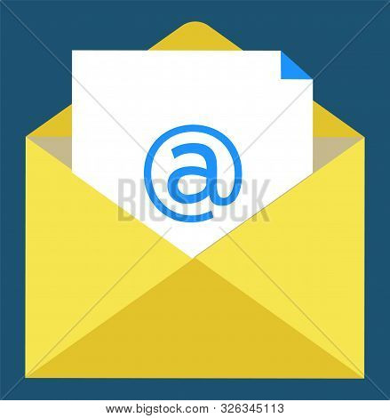 Letter symbol, paper with email sign in yellow envelope. Writing online, modern technology of workstation, poster or report, element of broker. Vector illustration in flat cartoon style stock photo