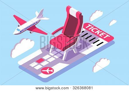 3d isometric ticket for air flight in sky. Concept airplane vehicle with date aircraft and cloud. Low poly. illustration. stock photo