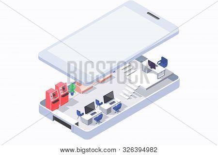 Isometric 3d office in phone with atm and mobile computers. Concept under cover with workspace, workplace. Low poly. illustration. stock photo