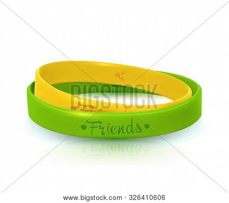 Friendship Day, happy holiday of amity. Two rubber bracelets for best friends yellow and green. Silicone wristbands on white background. Vector illustration stock photo