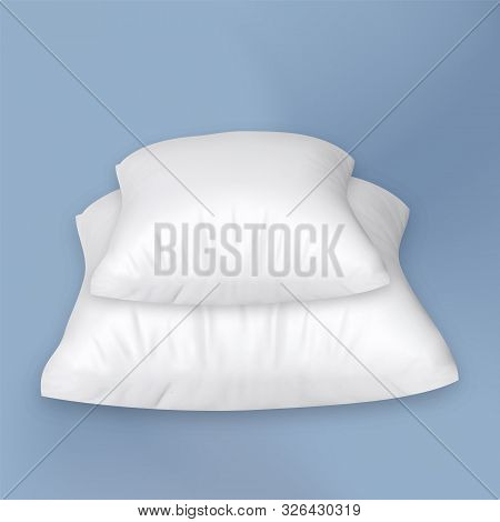 Pillow Stack For Comfortable Relax Sleep Vector Copy Space. Two Blank Orthopedic Soft Pillow. Bed Cotton Accessory Interior Element For Sleeping Concept Template Realistic 3d Illustration stock photo