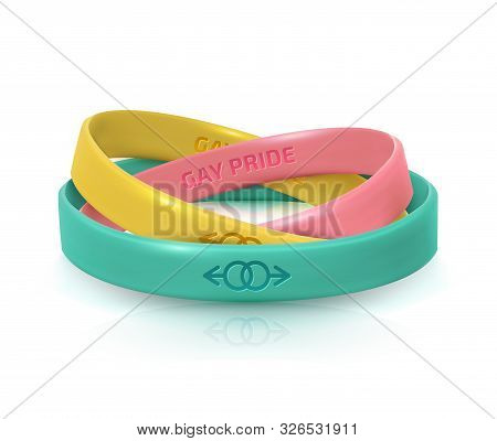 LGBT Pride concept. Three rubber bracelets for homosexualist. Silicone wristbands with symbols of gender Lesbian and Gay. Day of celebration of bisexuality and International Day for Tolerance poster stock photo