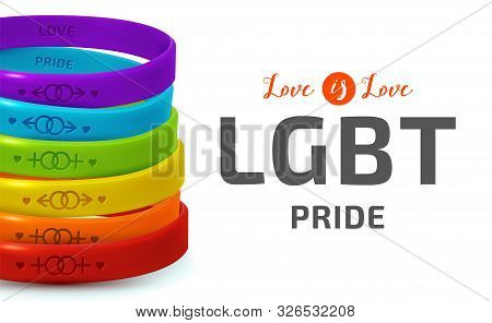 LGBT Pride concept. Rainbow rubber bracelets for homosexual people. Silicone wristbands with symbols of gender Lesbian and Gay. Day of bisexuality and International Day for Tolerance poster stock photo