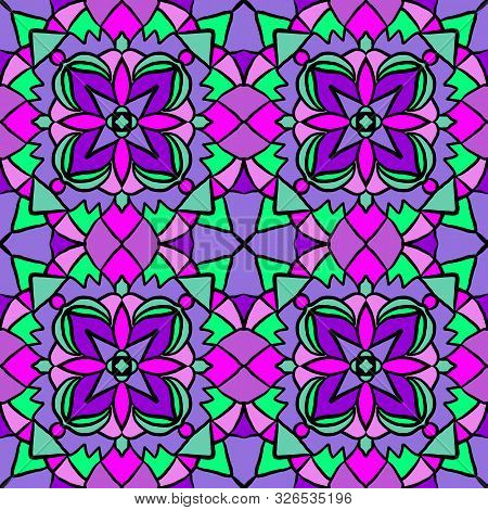 Abstract colorful green, pink, violet geometry tessellation seamless pattern tiles. Vector illustration. Can be used for textile design, wallpaper, pattern fills, background, surface textures, floor tiles and other. stock photo