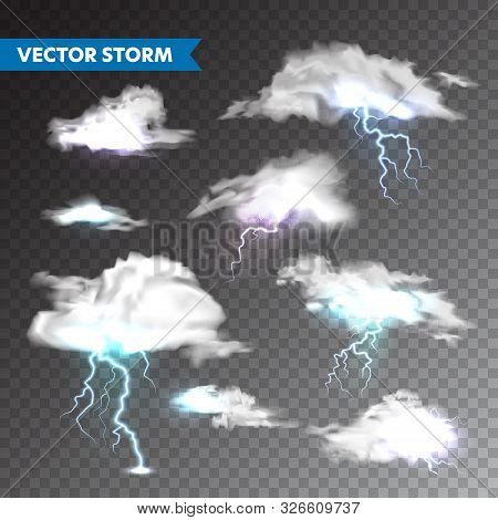 Realistic clouds with lightning set on transparent background. Thunderstorm and lightning bolt. Sparks of light. Stormy weather effect. Vector illustration. stock photo
